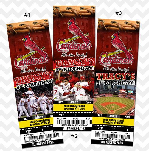 St. Louis Cardinals Ticket Invitation on Etsy, $9.99