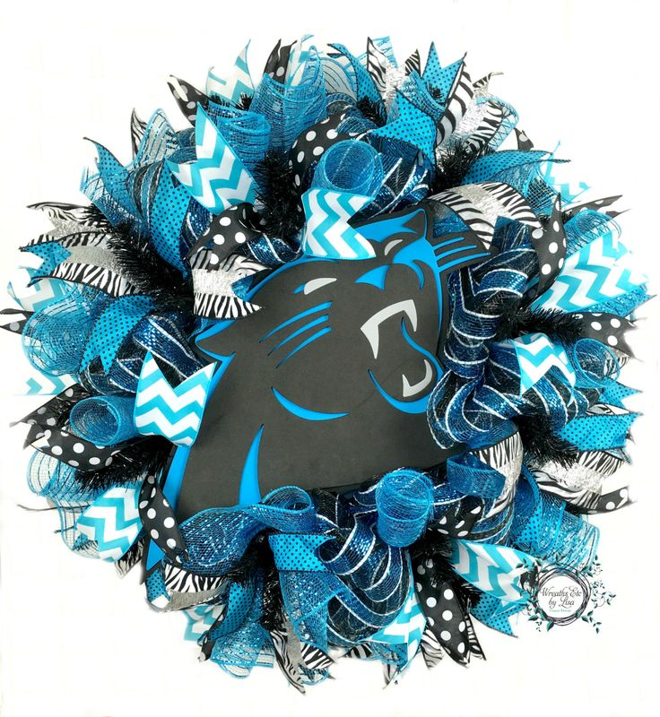 Carolina Panthers Deco Mesh Wreath - Keep Pounding - Panthers Wreath - Carolina…
