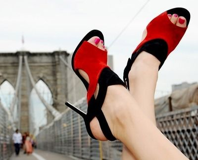 red and black stilletos