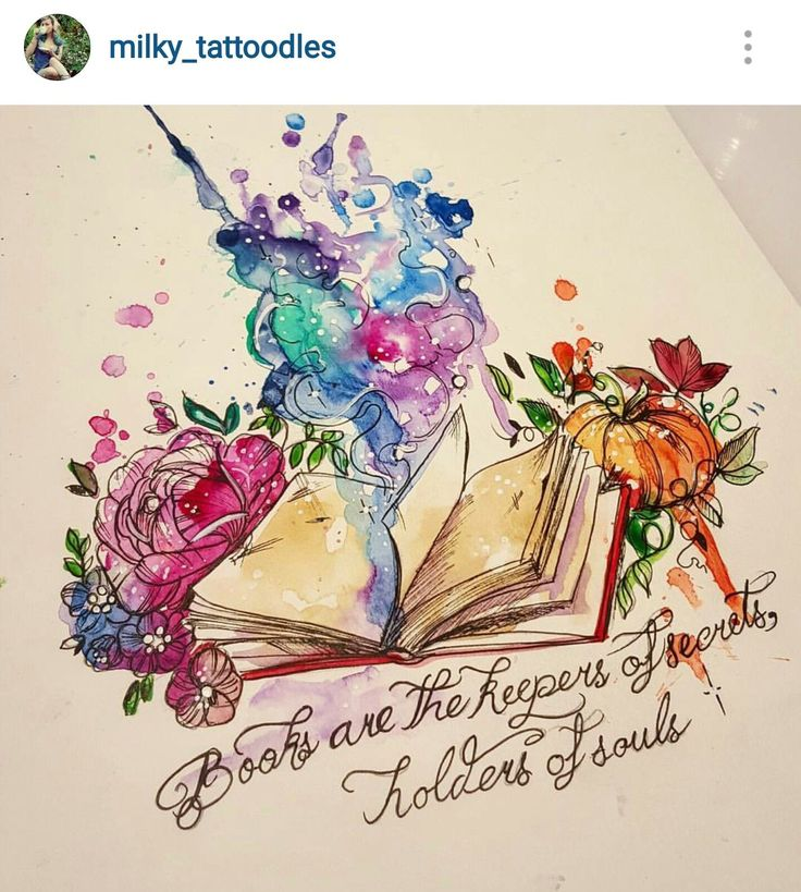 Beautiful book tattoo with flowers and watercolour
