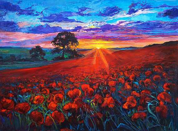 Red field2 32x24in Landscape Painting Original Art by artnikolov, $369.00