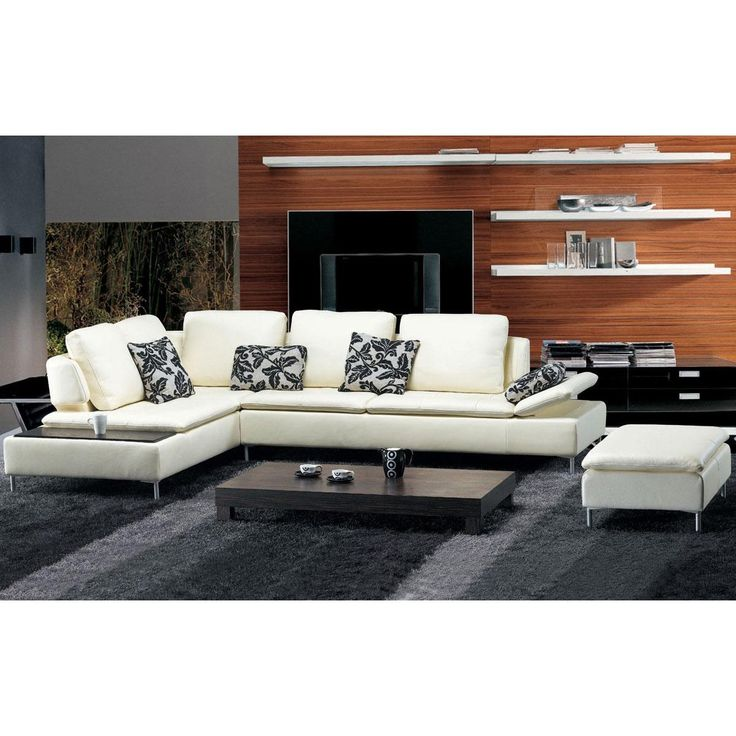 tosh furniture modern white leather sectional sofa and ottoman