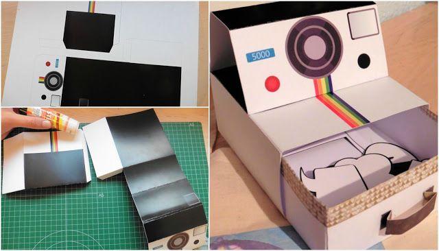 Free printable: Polaroid Paper Box Imprimible! Caja con forma de polaroid