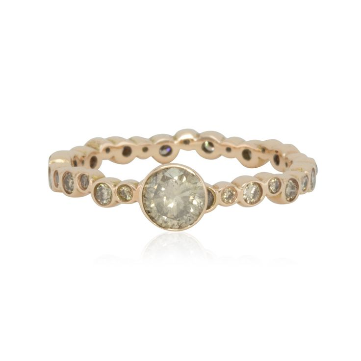 Rose Gold Engagement Ring with Bezel set Brown Diamonds - SALE - 50% Off! - LS2325