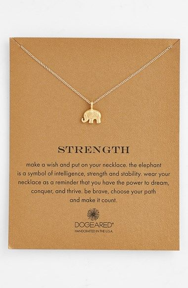 This is very sweet. :: Strength elephant necklace