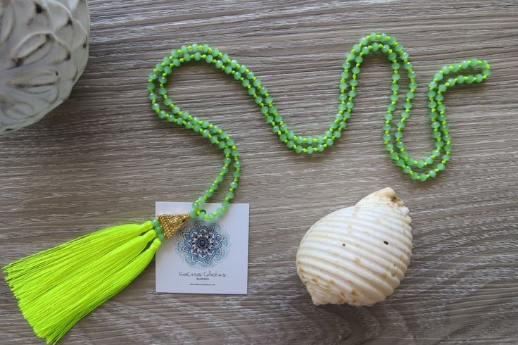 Tassel Necklace Lime Green Neon Crystal Gold Pendant Multi Tassels Crystal Grey Beads Boho Handmade Beach Wear by SeaCircusCollections on Etsy