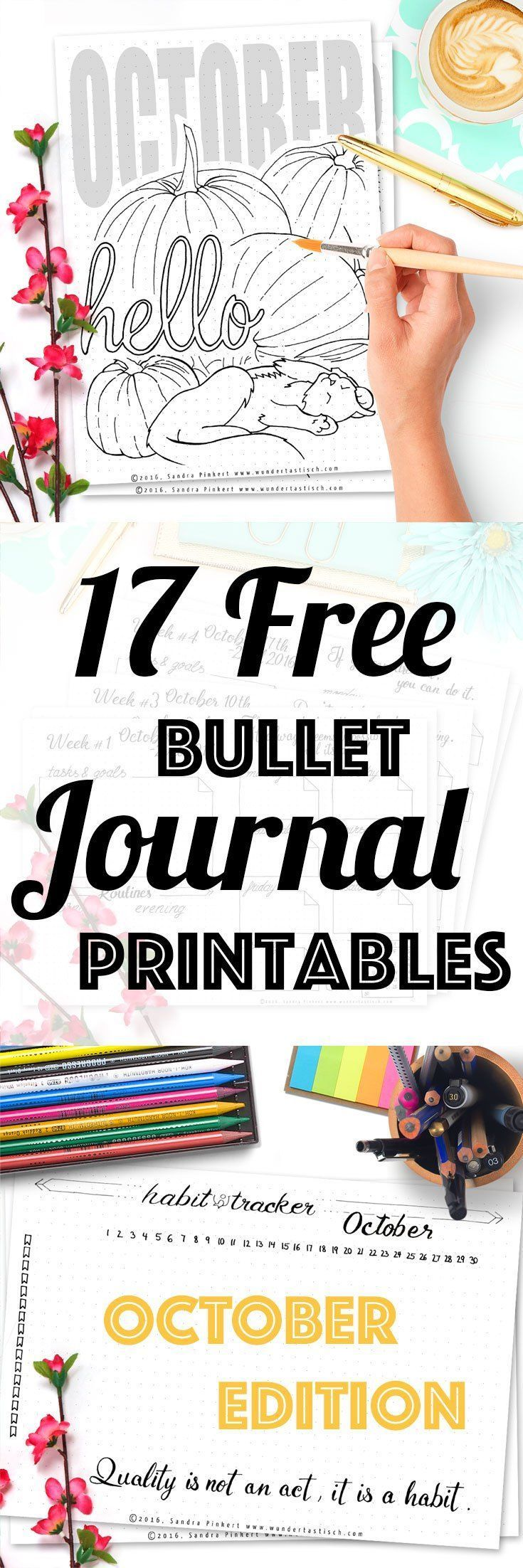 17 Free Printable Pages For Your Bullet Journal SetUp October 2016. Including Habit Tracker, October Memories, Monthly Log and many more beautiful pages.