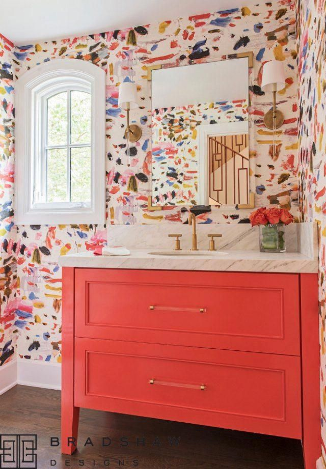 15 Stylish Bathrooms That Celebrate Pattern Bathroom Wallpaper