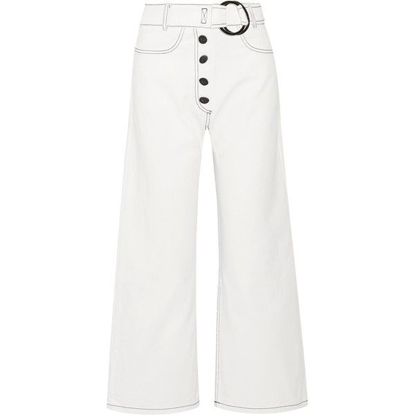 Rejina Pyo Emily high-rise wide-leg jeans (£325) ❤ liked on Polyvore featuring jeans, white, highwaist jeans, high rise jeans, high-waisted jeans, high waisted wide leg jeans and structure jeans