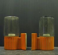 Rare pair of Ifö wall lamps orange/grey WL1165