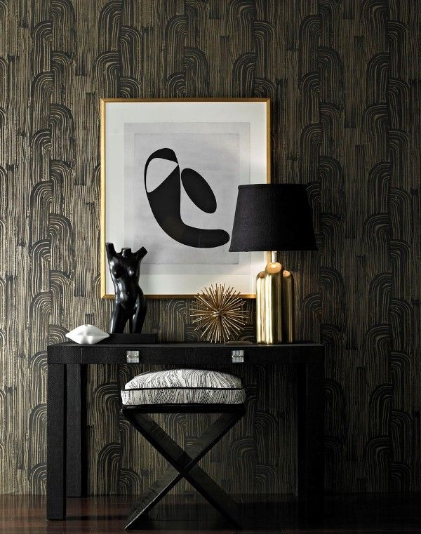 KELLY WEARSTLER | CRESCENT WALLPAPER. A bold, architecturally-inspired graphic pattern full of energy and movement, with subtle metallics