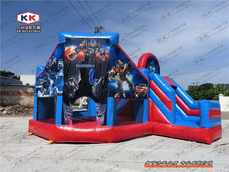 inflatable cartoon theme bouncer with slide high qualty 3D printing inflatable combo for school
