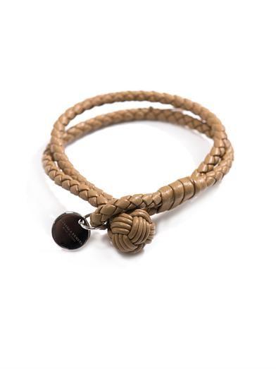 Double woven-leather bracelet | #BottegaVeneta
