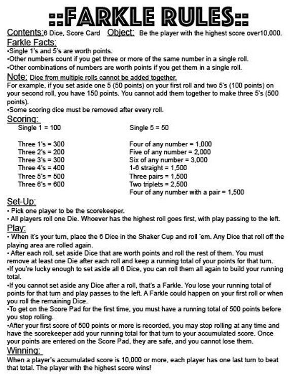 This is a graphic of Printable Farkle Rules within replacement
