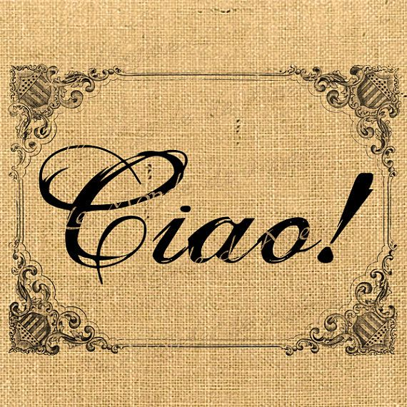 Ciao  italy europe romantic word butterfly print on iron transfer fabric gift tag burlap label napkins pillow Sheet n.232