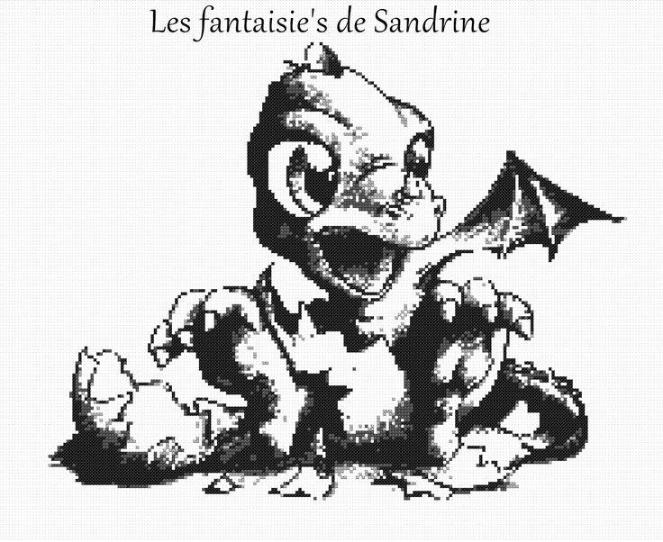 Grille point de croix Bébé dragon (PDF envoie de la grille par mail) : Broderie par les-fantaisie-s-de-sandrine