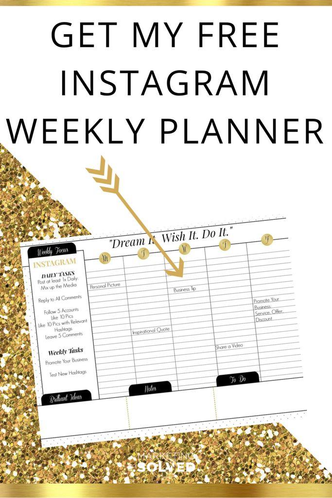 Instagram Weekly Planner Free Printable Calendar I N S T A G R A M Social Media Calendar