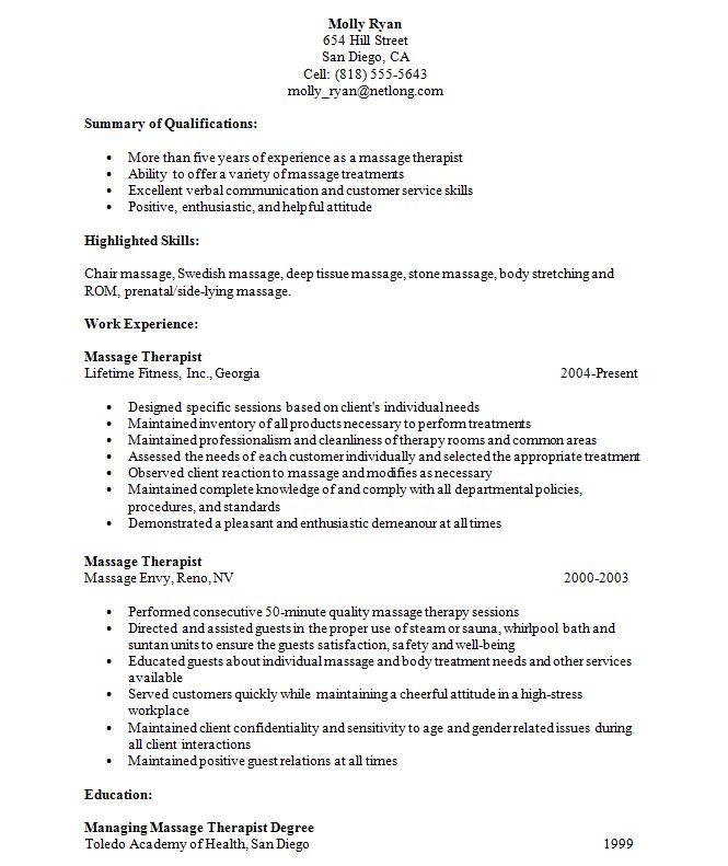 resume for massage therapist student