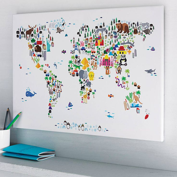 A map of the world created from colourful animals, landmarks and other curiosities on an ivory/cream, blue, plain white or aged vintage style background. £21.00