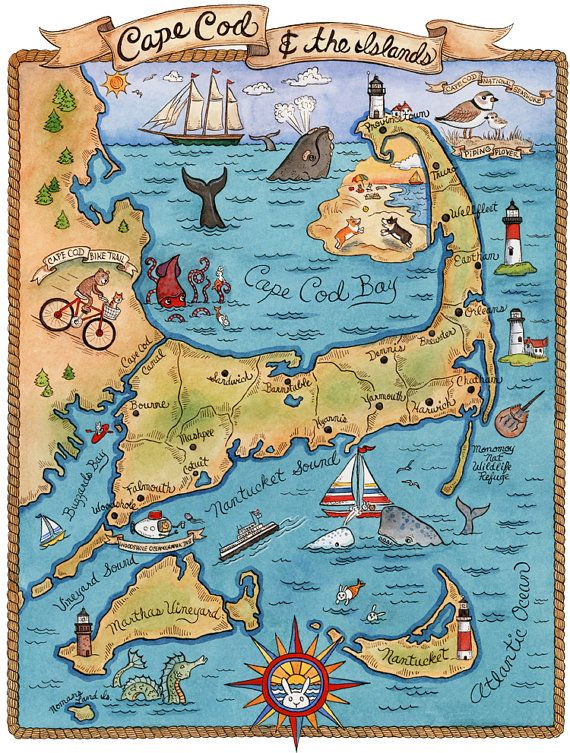Map of Cape Cod  (my family vacation spot growing up) Art Print 8 x10 by SepiaLepus on Etsy, $18.00