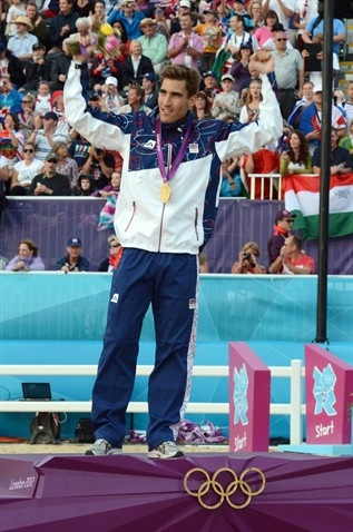 David Svoboda (CZE) celebrates after winning the men's modern pentathlon
