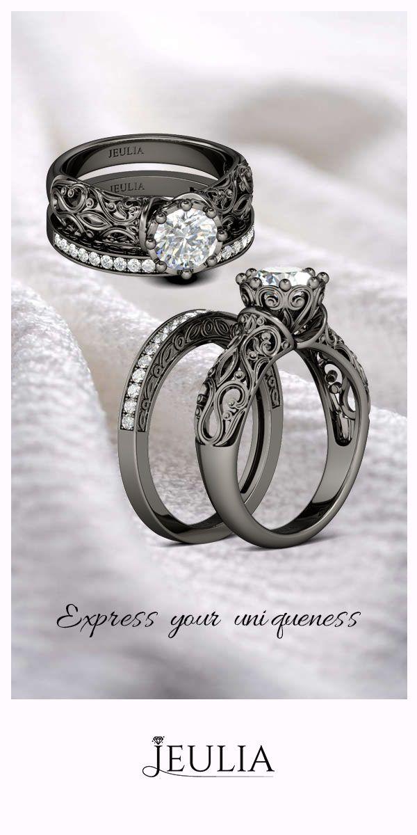 Black Vintage Round Cut Created White Sapphire Wedding Set