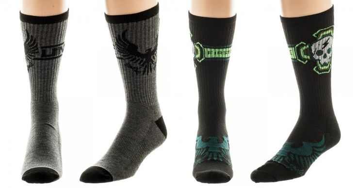 Lot of 2 HALO Video Game Themed Pairs of Men's Crew Socks UNSC First Strike NEW #Bioworld #CrewSocks