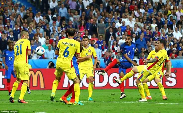 Payet's strike heads towards the back of the net to win the game for the Euro 2016 hosts a...