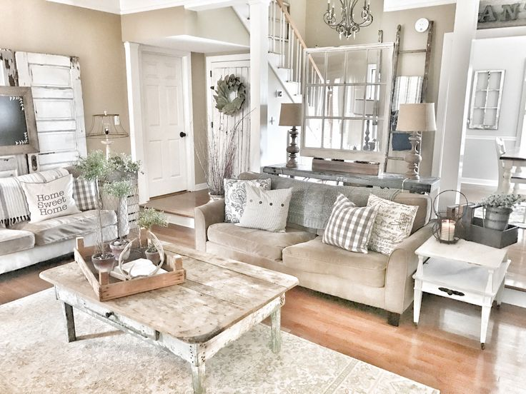 Farmhouse and rustic living room! Fixer Upper style IG @bless_this_nest