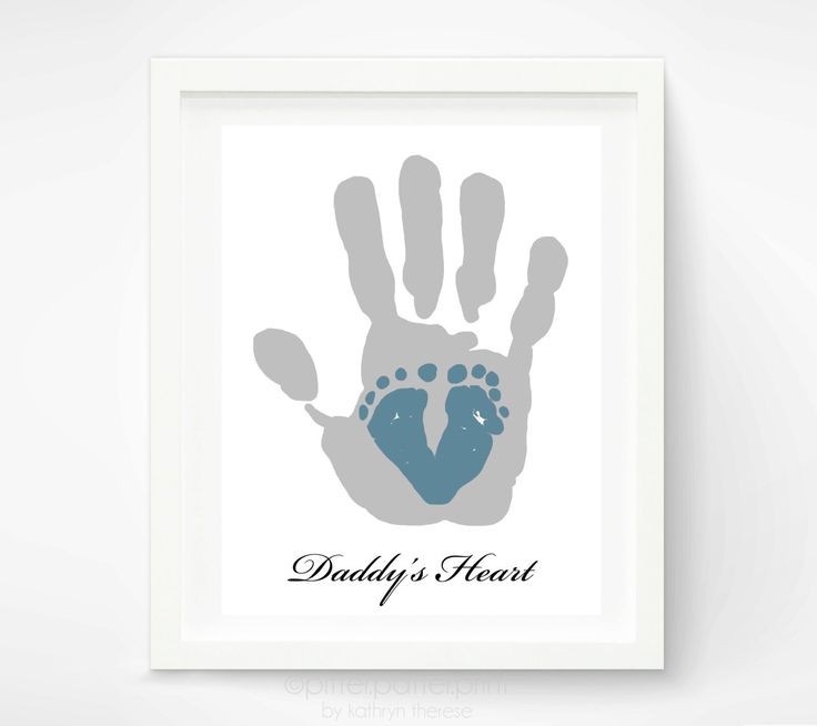 New Baby Gifts For Dad Part - 43: First Fatheru0027s Day Gift For New Dad - Baby Footprint U0026 Dad Hand Print -  Personalized