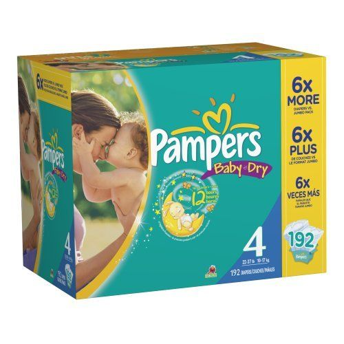 Pampers Baby Dry Size 4 Diapers Economy Pack Plus 192 Count