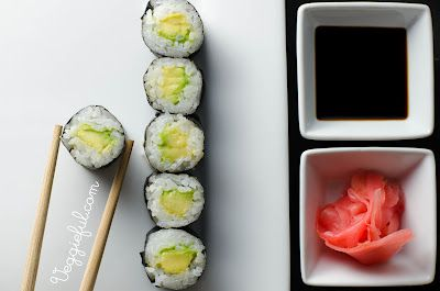 Avocado Sushi Rolls. We eat these with veggie stir fry, pot stickers, egg rolls and noodles.