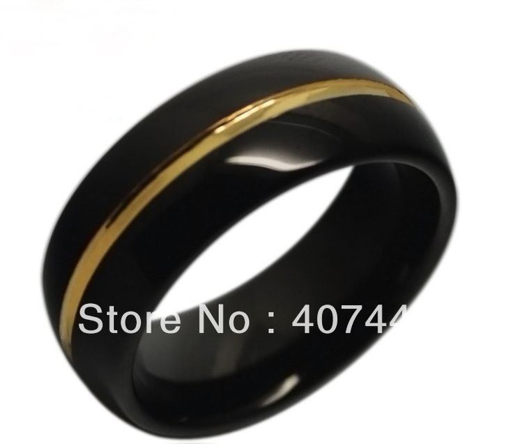 mens black18k gold two tones tungsten ring wedding band us sizes 7 13