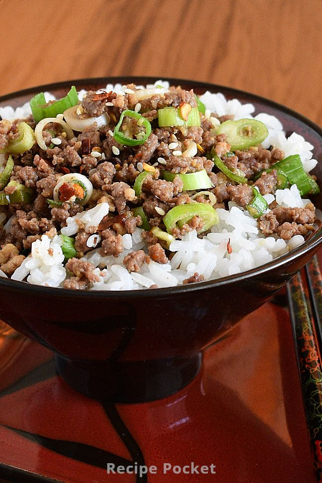 Easy Korean Ground Beef Rice Bowl On The Table In 20 Min Recipe In 2020 Beef Rice Bowl Recipe Bowls Recipe Ground Beef Rice