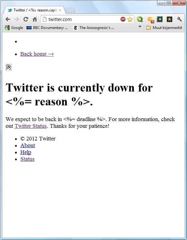Twitter down for a reason.
