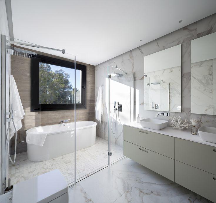 Las 25 mejores ideas sobre ducha doble en pinterest - Lavabos dobles sobre encimera ...