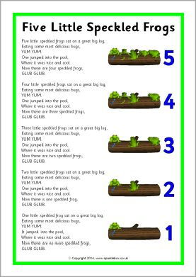 Five Little Speckled Frogs song sheet (SB10901) - SparkleBox