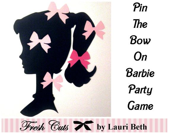 Pin the Bow on Vintage Barbie Inspired Party Game