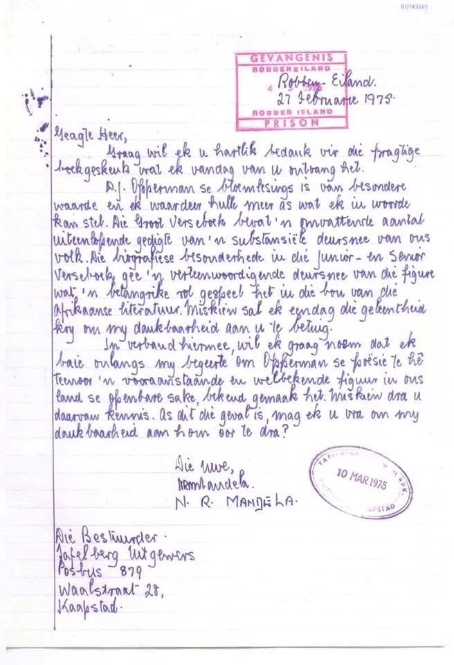 A letter in Afrikaans.