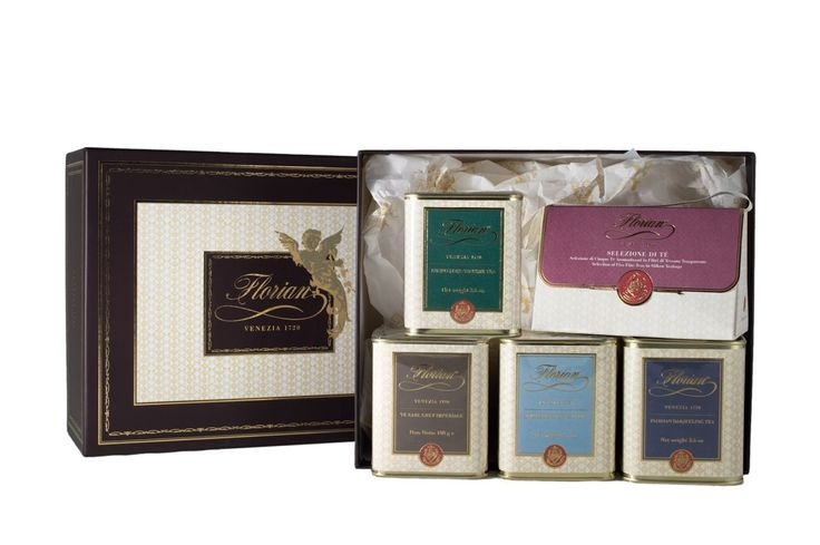 Florian classic tea set Special and exclusive tea frangrances created for the Caffè Florian. This set includes 4 tins 100 gr each.  DARJEELING TEA: the perfect black tea for the afternoon.  ENGLISH BREAKFAST TEA: Traditional blend of strong black teas of good body.  EARL GREY TEA: Florian's Imperial Earl Grey Tea with natural oil of bergamot is an elegant and sophisticated tea.  GUNPOWDER SUPREME TEA: the most widely-drunk green tea in the world, combining a fresh, light flavour.