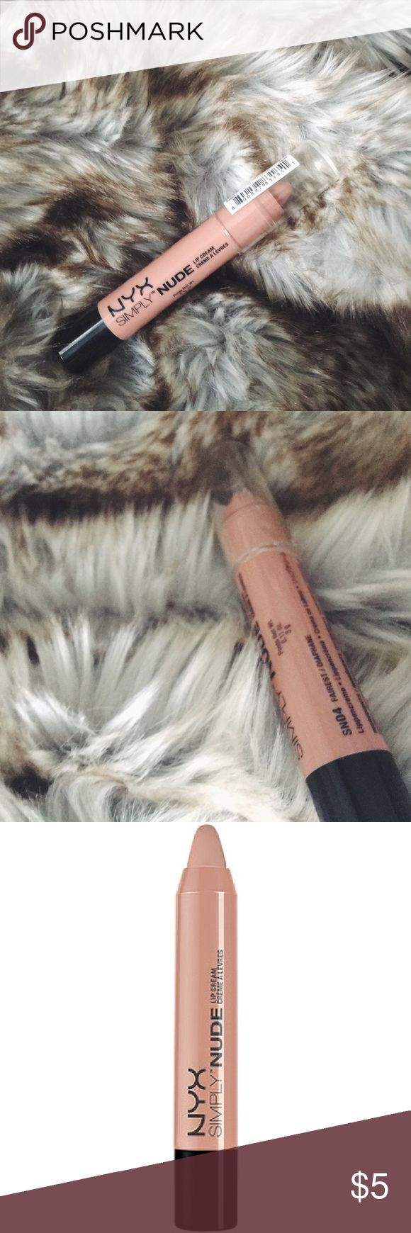 NIP NYX Simply Nude Lip Cream Pencil in Fairest NIP NYX Simply Nude Lip Cream Pencil in Fairest. Bare is beautiful with NYX Cosmetics Simply Nude Lip Creams. Swipe on this velvety and moisturizing cream to leave your lips with a subtle satin finish. NYX Makeup Lipstick