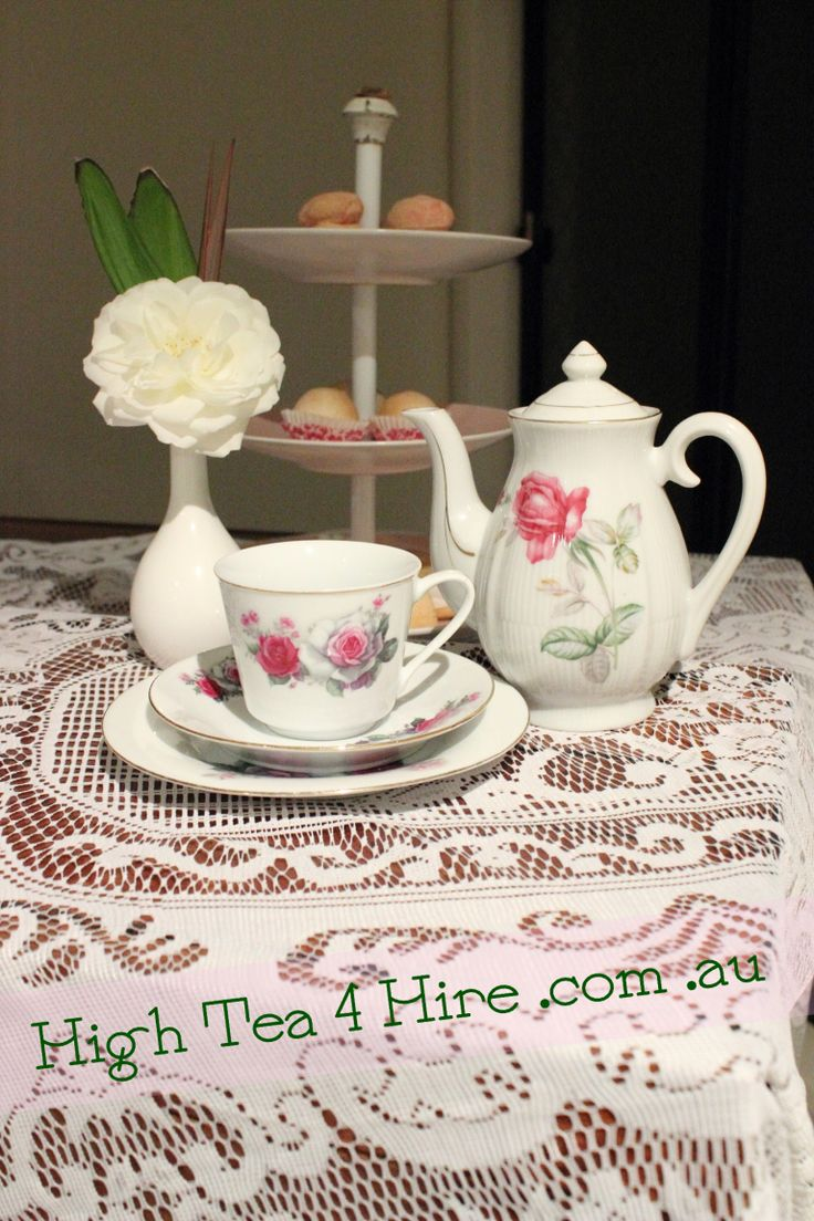 Pink rose high tea - tea cup, saucer, tea pot and high tea stand.  High Tea 4 Hire, Newcastle NSW