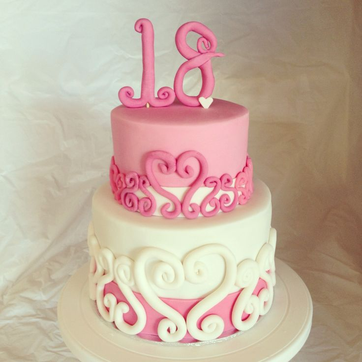 Sweet pink and white birthday cake by Cake and Whimsy