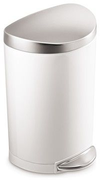 10 Litre Semi-Round Step Can White Steel, Stainless Steel Lid modern kitchen trash cans $39