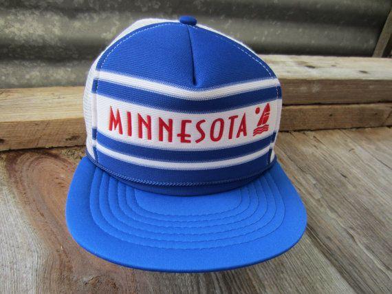 70s/80s Blue Minnesota Trucker's Hat // Vintage Souvenir Baseball Cap // Mesh Hat