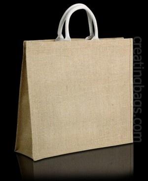 Bolsa de tela Platinum, nuestra bolsa más resistente. Fabricada con yute y asas de algodón. Podemos serigrafiarla con los colores que quieras