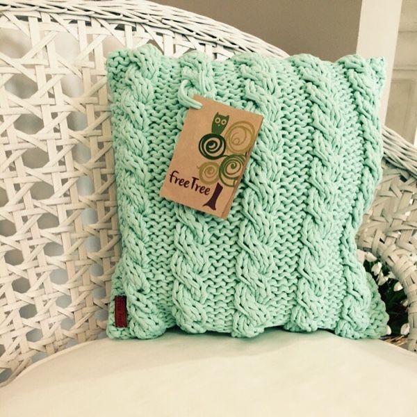 Купить Вязаная подушечка из 100% хлопка летнего мятного цвета - подушка, подушка декоративная