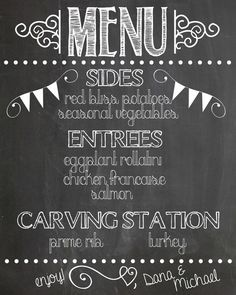 chalkboard wedding menu pinterest - Google Search