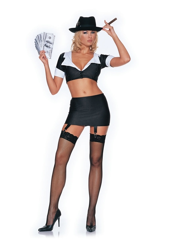 gangster girl 2pc costume sexy womens costumes sexy halloween costumes - Halloween Mobster Costumes