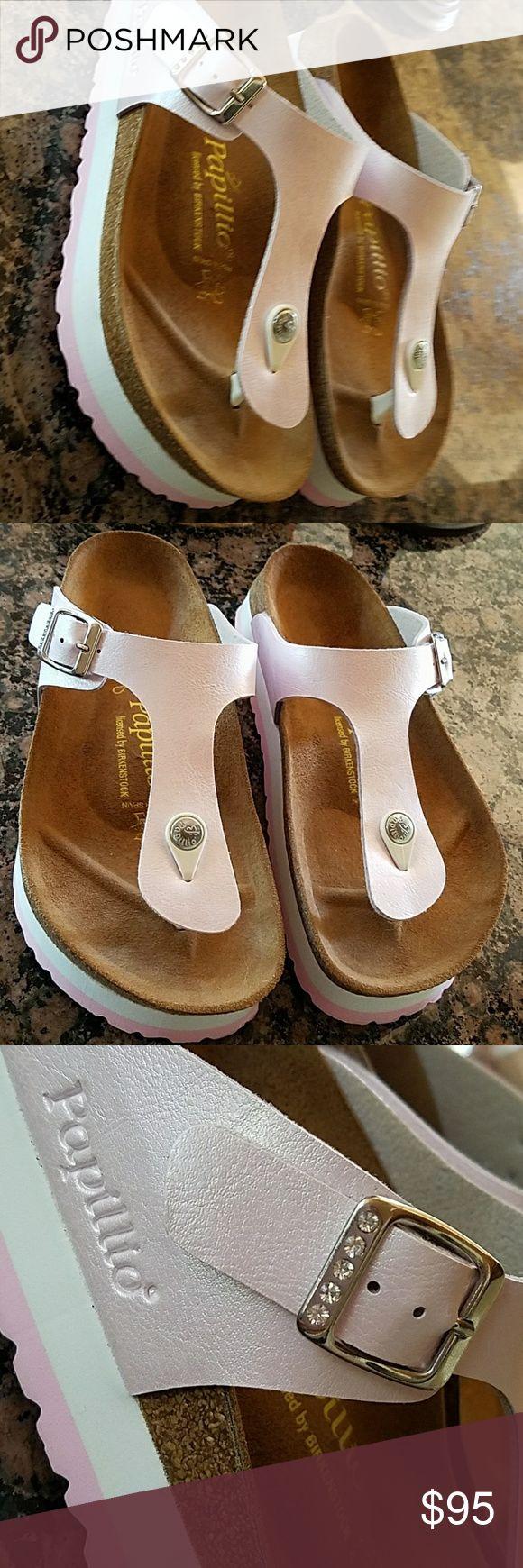Birkenstock pink rhinestone Papillio samdals NEW!! Pearl pink, rhinestone buckles,  platform Papillio Birkenstock thong sandals.. 1/2 size too big for me. Birkenstock Shoes Sandals
